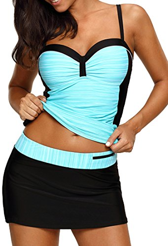 - Aleumdr Womens Swimsuits Tankini Sweatheart Neck Color Block Printed Wireless Padded Tankini Top with Swim Pantyskirt Large Size Green Black