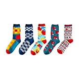 5 Pair/Lot British Style Personality Couple Stockings Fashion and Funny Colorful Geometric Pattern Cotton Socks