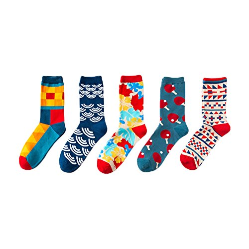 5 Pair/Lot British Style Personality Couple Stockings Fashion and Funny Colorful Geometric Pattern Cotton Socks by Future Life