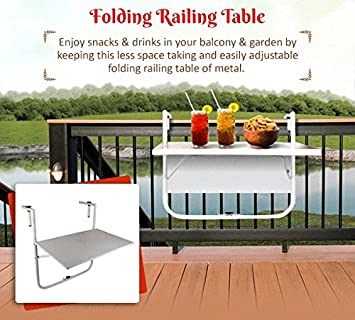 Wonderland Folding Balcony Table To Hang On Railing ( Coffee Table, Outdoor  Table, Portable