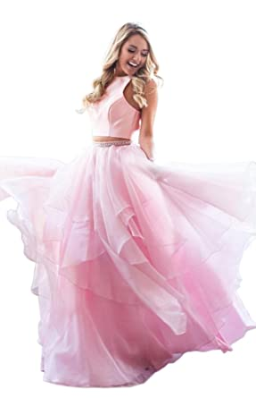 Dressylady Two Piece Organza Ruffles Long Prom Dress Open Back Quinceanera Gowns Pink 2