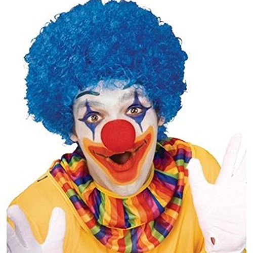 LOAVER Clown Wig Synthetic Blue Curly Wig with Red Clown Noses for Costume Party