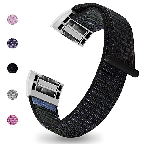 iGK Nylon Replacement Bands Compatible for Fitbit Charge 2, Premium Woven Nylon Adjustable Replacement Bands Breathable Sport Strap with Metal Connector Black Large