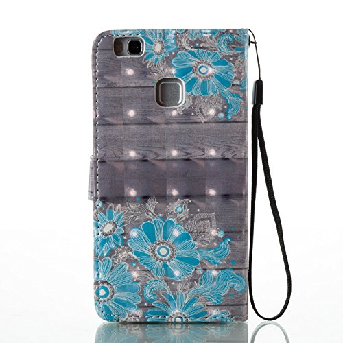Para Huawei P9 Lite funda, (mariposas) pintura 3D caja del teléfono de la PU patrón en relieve ,Función de Soporte Billetera con Tapa para Tarjetas correa de mano soporte para teléfono flores azules