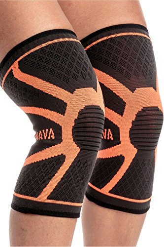 Bodybuilding Knee Wraps - Mava Sports Knee Compression Sleeve Support, Pair (Orange, Large)