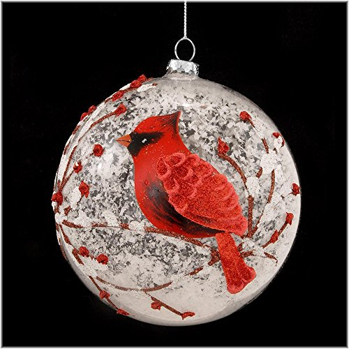 amazoncom snowy red cardinal branches glass ball christmas tree ornament 5 inches by raz imports home kitchen