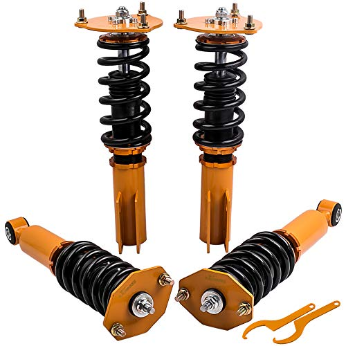 Coilovers Suspension Kits with Non-Adjustable Damper for Mitsubishi 3000GT/GTO/3000GT-VR4 (FWD) 1991-1999, Dodge Stealth 1991-1996 - Gold ()