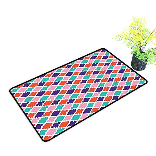 Non Slip Floor Welcome Mat Colorful Mosaic Tiles Oriental Asian Ikat Indonesian Patterns Motifs Decorative Durable and Resistant to Soiling W23 x H15 INCH