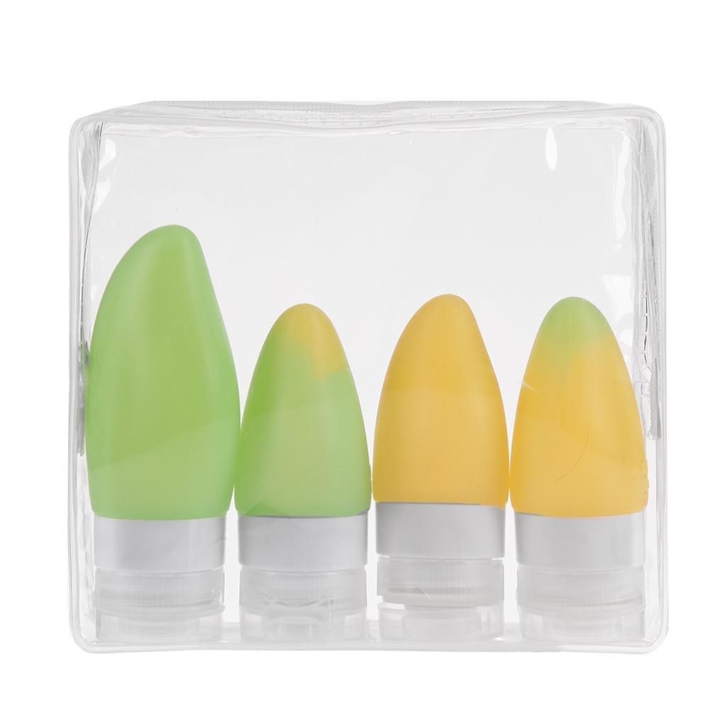 Everpert Juego de 4 botellas de silicona con forma de fruta, para champú o viaje, diseño de botella para champú o viaje diseño de botella