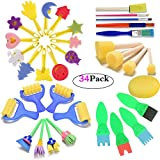 FUQUN Paint Sponges for Kids, Early Learning Kids Art & Craft 34 Pieces Sponge Painting Brushes Kids Painting Kits Early DIY Learning include Foam Brushes, Art Crafts sponge brush, flower pattern brush, Brush set and Paint Brushes for Toddlers