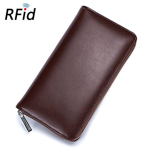 Minimalist Real Cowhide Split Leather RFID Blocking Credit Card Holder Big Passport Wallet (Big Zip Wallet)