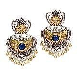Jaipur Mart Indian Bollywood Glass Stone Two Tone Oxidised Dangle Earrings Blue