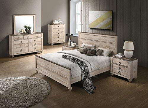 Roundhill Furniture B132KDMN2C Amerland Contemporary White Wash Finish  6-Piece Bedroom Set,