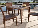 Panama Jack Outdoor 5-Piece St Barths Side Chair Dining Set, Includes 4 Side Chairs and 36-Inch Square Woven Table For Sale