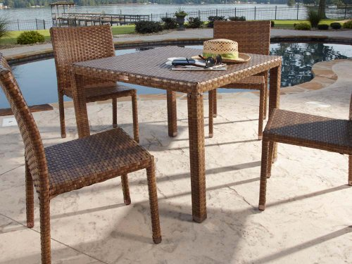 Panama Jack Outdoor 5-Piece St Barths Side Chair Dining Set, Includes 4 Side Chairs and 36-Inch Square Woven Table (Rattan Console Table Set)