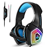 Choyur Gaming Headset Compatible PS4 Xbox One, PC Game Headset Mic, Noise Cancelling Over Ear Compatible Mac Switch Games Headphones LED Light & Bass Surround