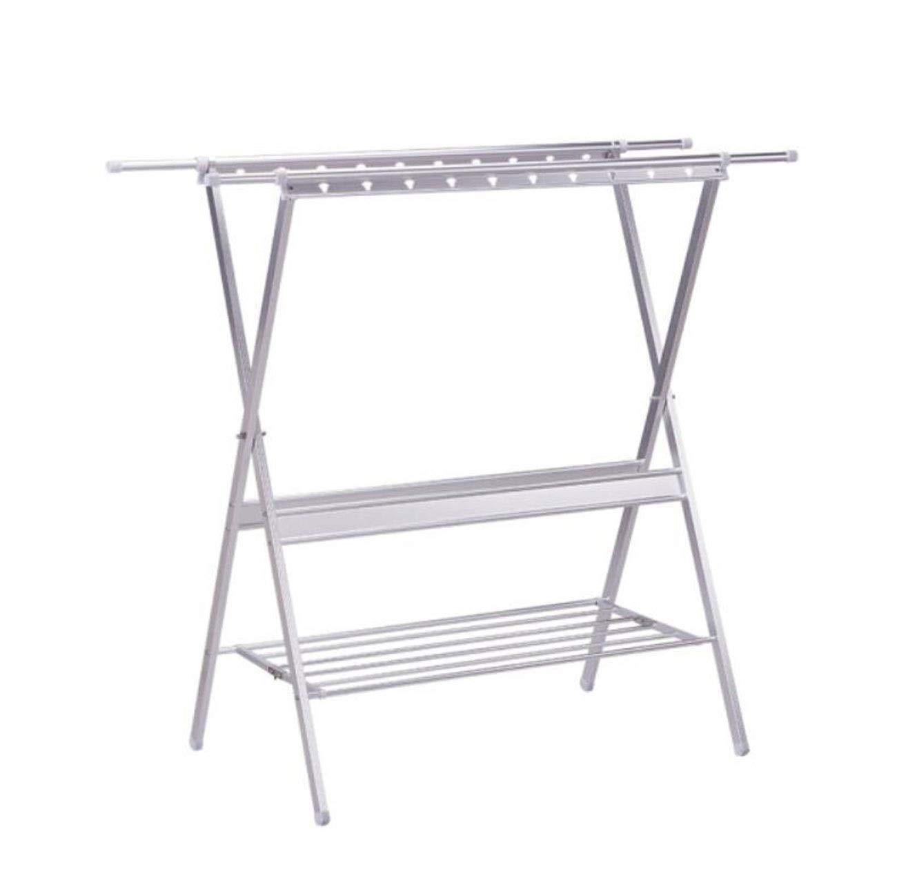 HYZLYJ Drying Rack, Aluminum Alloy X-Type Indoor Drying Rack Simple Folding Floor Telescopic Double Pole Balcony Drying Quilt Rack (Color : C)