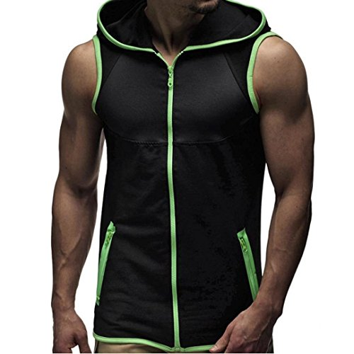 Hot Sale!Hooded Zipper Sleeveless T-shirt ,BeautyVan Fashion Design Men Summer Fashion Hooded Zipper Vest Men's Sleeveless T-shirt (XL, ()