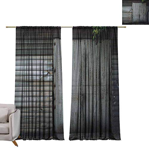 berrly Decorative Curtains for Living Room Industrial,Obsolete Zinc Plated Steel Door Padlock Locked Gate Warehouse Print, Grey Green and Brown W96 x L84 Customized Curtains ()