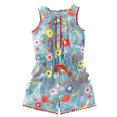 Frogwill Toddler Girls Pretty Print Romper Summer Playsuit Soft Bluebell Field 5T