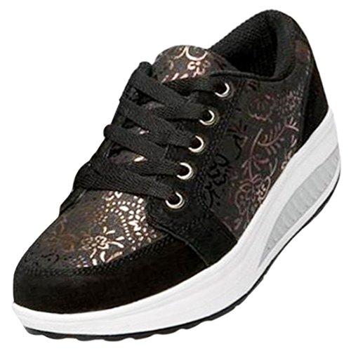 Freahap Zapatos para Mujer de Plataforma Zapatos Deportivos de Ocio de Mujer Zapato de Superficie de Malla Negro
