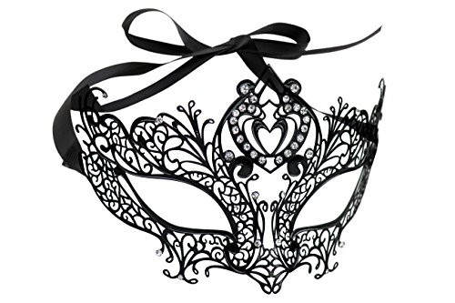 Luxurious Venetian Masquerade Filigree Mask - Malleable Laser-cut Metal With Rhinestones - Regal/Royalty Series Filigree Pattern 7 - For Masquerade Ball, Mardi Gras, Halloween Costume Party, New Year's Party, Carnivals and Festivals ()