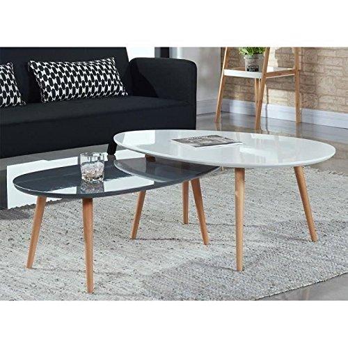 STONE Table basse ovale scandinave gris laqué - L 88 x l 48 cm Tous Mes Meubles