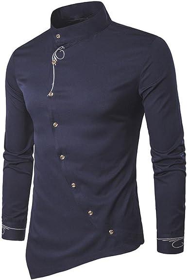 Hombres de otoño Casual Stand Collar Bordado Camisetas Calidad de diseño Dress Irregular Top Blusa Hipster Shirt, diseño de Calidad!: Amazon.es: Ropa y accesorios
