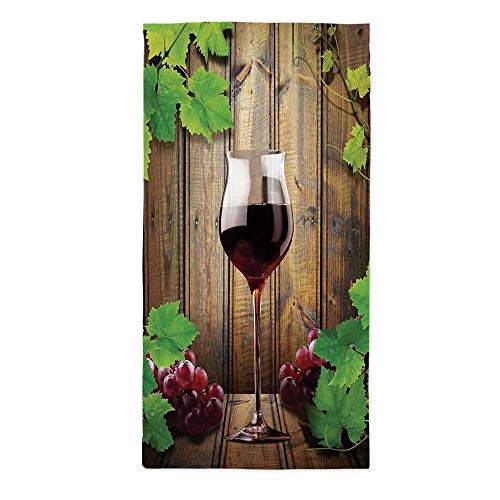 Modern Fashionable Tablecloth,Wine Glass Grapes Rustic Wood Kitchenware Home and Cafe Interior Art Design Decorative for Secretaire Square Table Office Table,24''W X 48''L