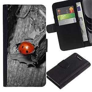 Be Good Phone Accessory // Caso del tirón Billetera de Cuero Titular de la tarjeta Carcasa Funda de Protección para Sony Xperia Z1 Compact D5503 // Ladybug Gray Red Cute Bug Macro Close-Up
