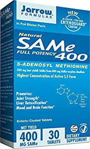 Jarrow Formulas SAM-e, Promotes Joint Strength, Mood and Brain Function, 400 mg, 30 Enteric- Coated tabs
