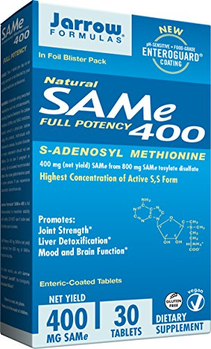 - Jarrow Formulas SAM-e, Promotes Joint Strength, Mood and Brain Function, 400 mg, 30 Enteric- Coated tabs