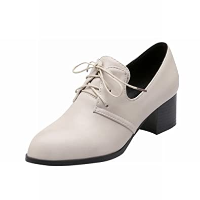 4d815b4efd1 Carolbar Women's Lace-up Pointed Toe Retro Vintage Fashion Chunky Mid Heel  Oxfords Shoes