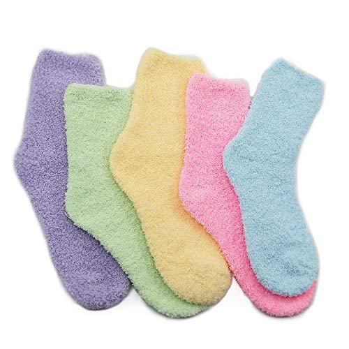 Fuzzy Warm Slipper Socks Women Super Soft Microfiber Cozy Sleeping Socks 5 Pairs