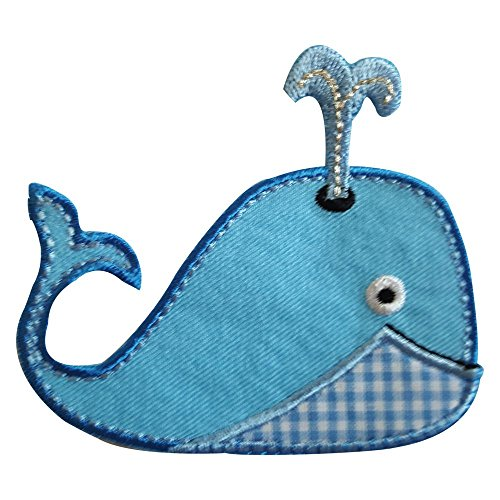 2 iron-on appliques set - Whale 8X8Cm and Gingerbread Man 7X9Cm embroidered application set by TrickyBoo Design Zurich Switzerland -