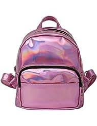 Orfila Women Hologram Laser Backpack PU Leather Mini Casual Travel Daypack School Bag Shoulder Handbags