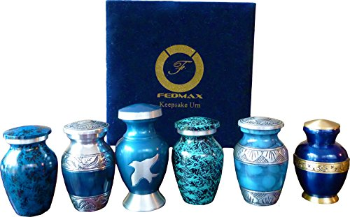 Keepsake Cremation Urns, (Blue 6pc), Small Funeral Urns for Human Ashes w/Velvet Box, by Fedmax.