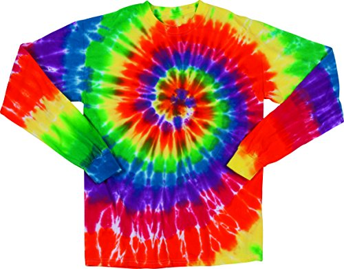 Michaelangelo Spiral Adult Tie Dye Long Sleeve T-Shirt Tee,Michelangelo,Small