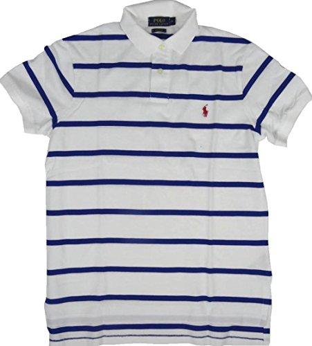 Ralph Lauren Polo - Custom Fit - Weiß mit blauen Streifen