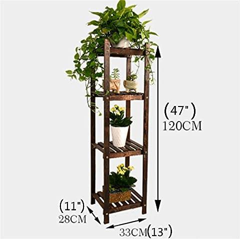 Carbonized Pine Wood Shelf 4 Tiers Design Handmade Plant Stand Burned Cedar Bonsai Gardening Planter Shoe Racks Balcony Living Room Indoor Outdoor Bathroom (4 - Design 4 Shelf