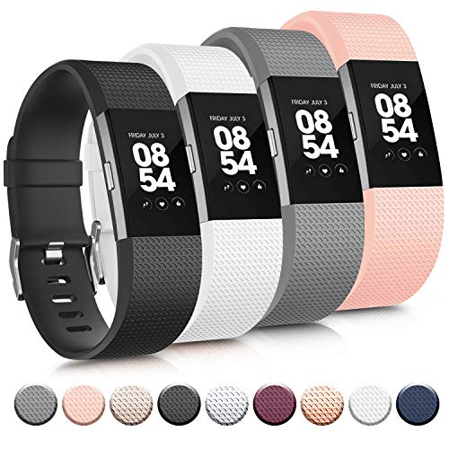 Tobfit Sport Bands Compatible with Fitbit Charge 2, 4 Pack, Replacement Wristbands for Women Men, Small/Large