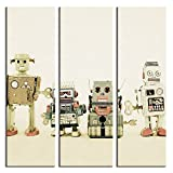 JP London 3 Panels At 16in by 48in Triptych 3 Huge Gallery Wrap Canvas Wall Art Retro Robot Machines Lineup At Overall 4 4 Feet LTCNV2359, Extra Large