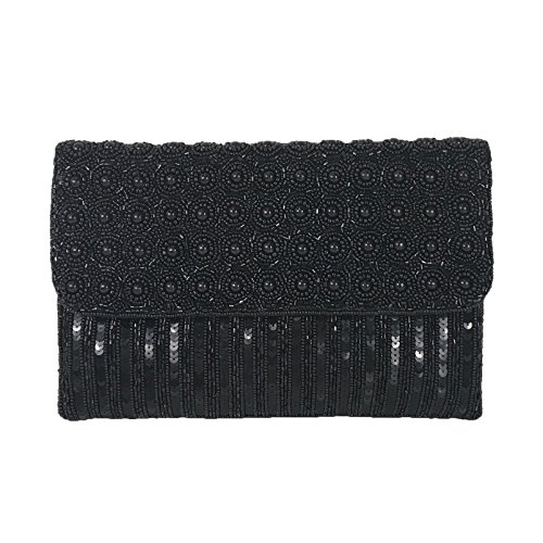St Evening Xavier Sequin Beaded Black Clutch Bag Mel From HFdYq5nwd