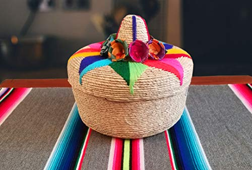 (Genuine Mexican Handwoven Tortillero, Fiesta Mexican Tortilla Warmer, Tortilla Holder, Tortilla Keeper,Tortilleros Mexicanos Para Fiesta - Includes smaller size inside! (Floral, 2))