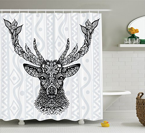 Ambesonne Deer Decor Shower Curtain Set, Figure of Aborigina