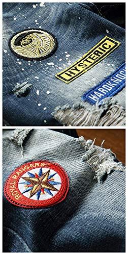 Fit Maschile Especial Colour Slim Casual Afflitta Dritta Jeans Strappato Gamba Estilo Denim Distintivo Vintage Pantaloni XdzX4q