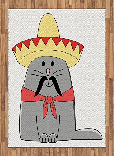 Latina Rug (Cat Area Rug by Lunarable, Modern Illustration of Latino Kitten with Mexican Hat and Moustache Artsy Mascot, Flat Woven Accent Rug for Living Room Bedroom Dining Room, 5.2 x 7.5 FT, Grey White Red)