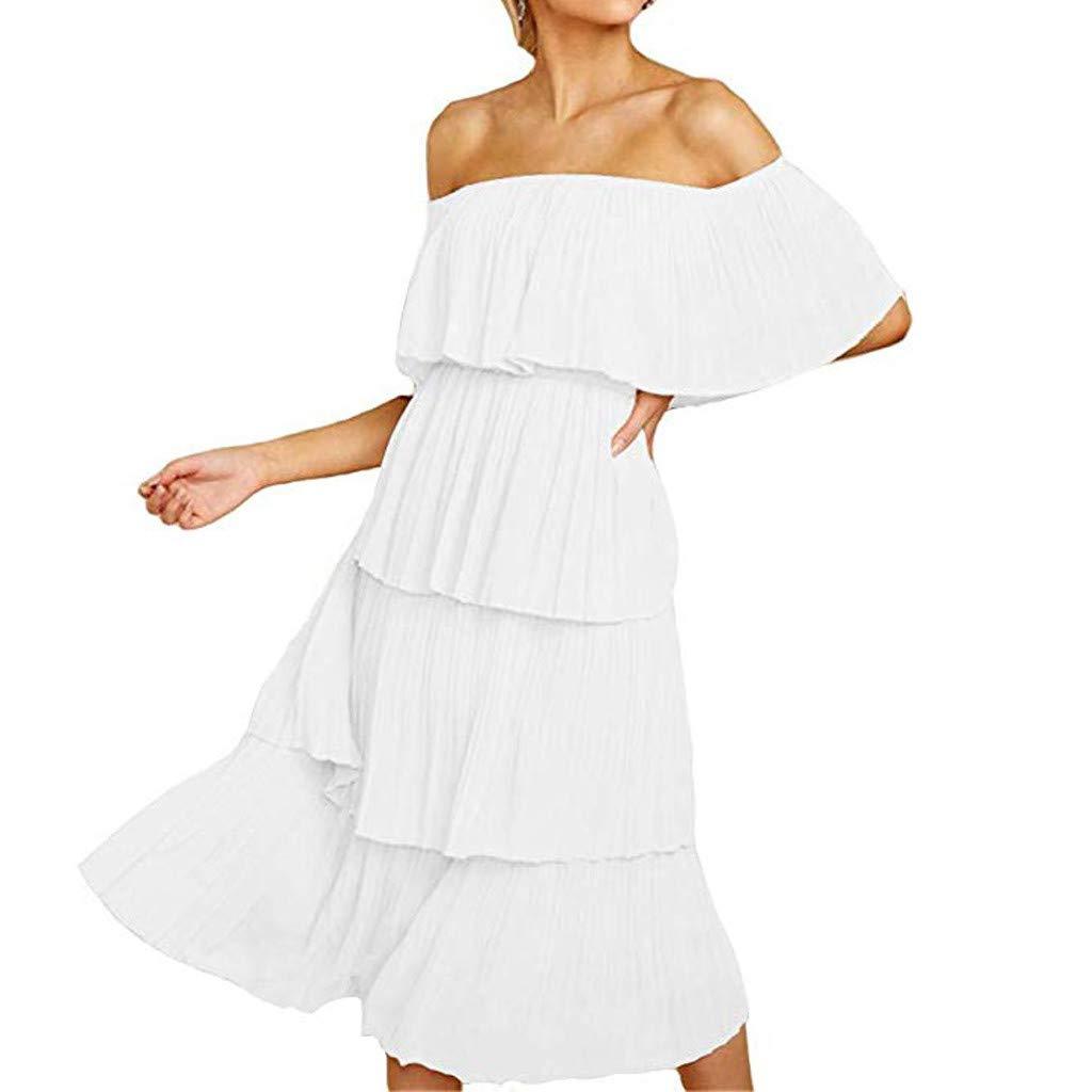 Women Chiffon Off Shoulder Ruffles Solid Evening Party Layered Dress Slash Neck Beach Cocktail Sundress (M, White)