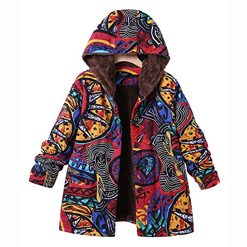 ize Pockets Vintage Floral Print Winter Warm Hooded Jacket Overcoat Outwear Coat ()