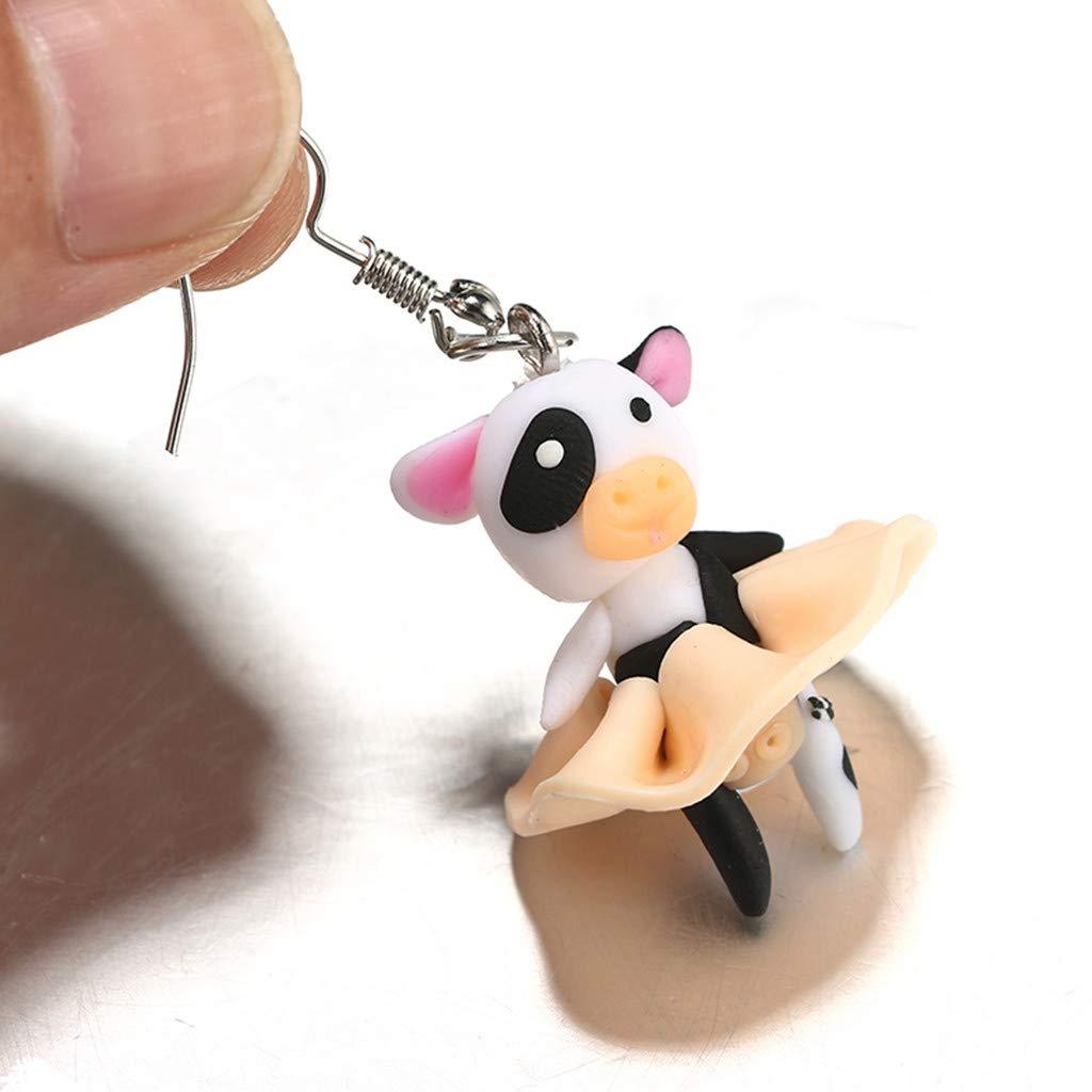 Peigen 3D Clay Earrings Kawaii Soft Pottery Pig Earrings Handmade Biting Your Ear Animal Polymer Clay Stud Earrings for Girls